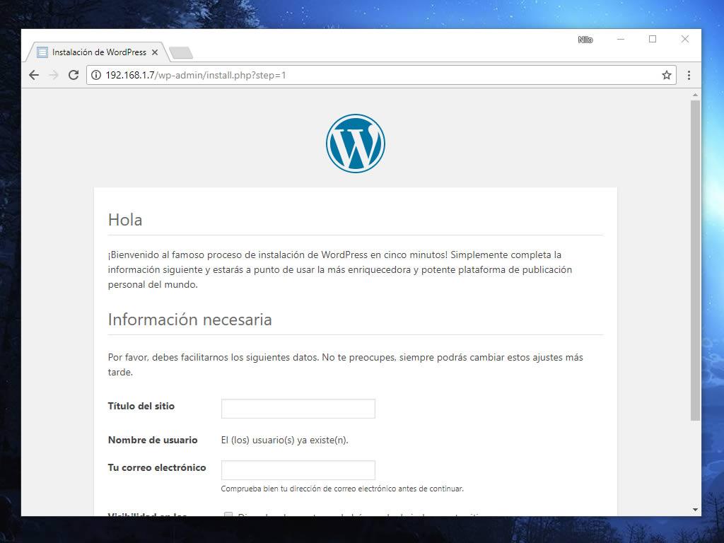 Bienvenida de un contenedor Docker con WordPress